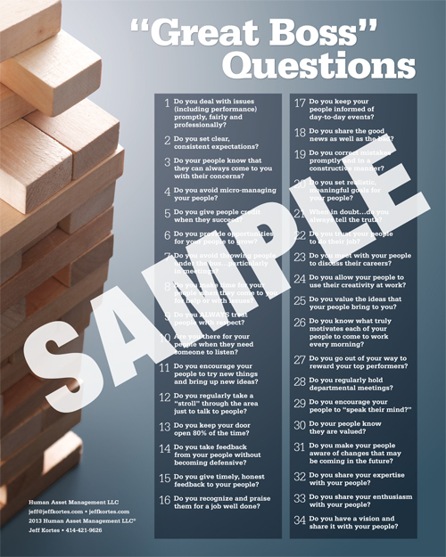 Great Boss Questions Poster - Sample