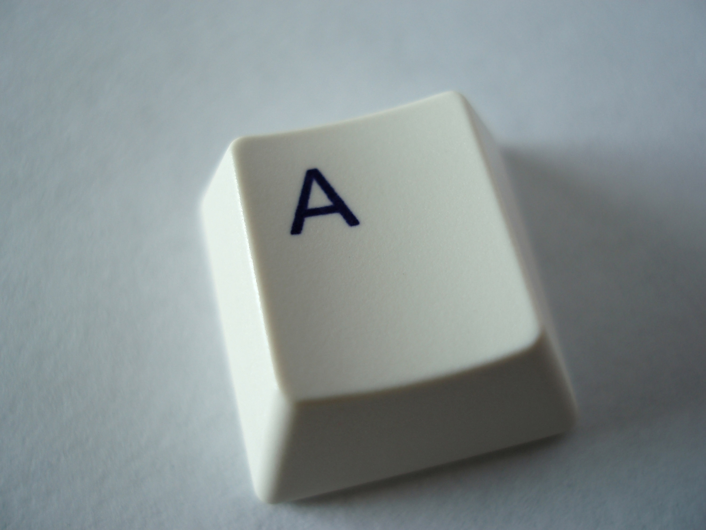the letter A key removed from a computer keyboard, concept start here ...