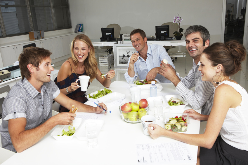 Colleagues having lunch